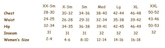 Mantrameds.com women's sizing chart